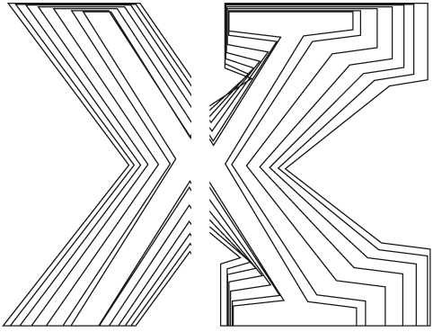 [Bild: Der Größenzuwachs des Buchstabens x von Arventa und Arventa Slab im Verlgeich]