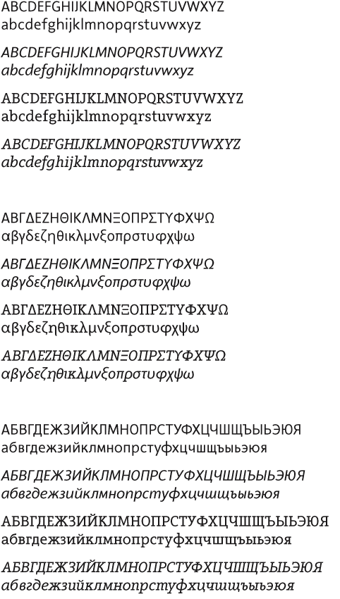 [Bild: Die Grundbuchstaben des lateinischen, des griechischen und des kyrillischen Alphabets gesetzt aus der Arventa und der Arventa Slab]