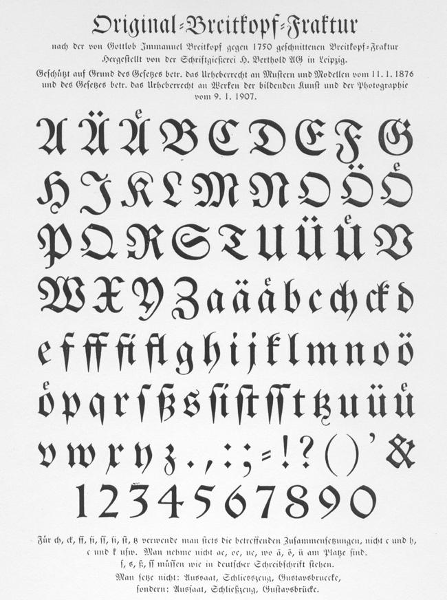 [Bild: Schriftmuster der Original-Breitkopf-Fraktur der Schriftgießerei H. Berthold, Leipzig]