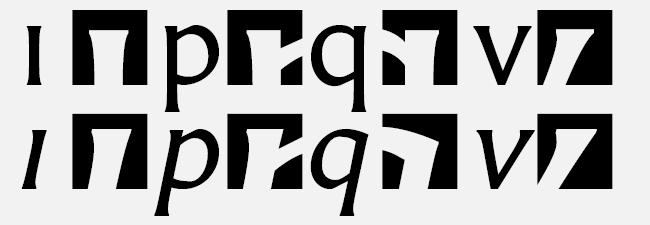 [Bild: Serifenformen der aufrechten und der kursiven Carter Sans Pro]